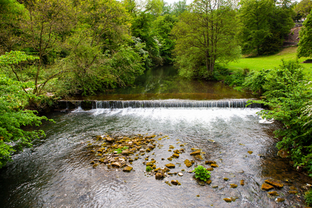 Flowing current through River Manifold, Ilam Park, England