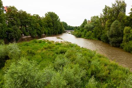 Isar River flowing through Munich, Germany 写真素材