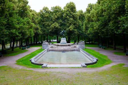 Vater-Rhein-Brunnen, fountain in a public park, Munich, Germany