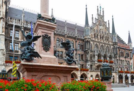 Figurines around Mariensaule column at Marienplatz, Munich, Germany