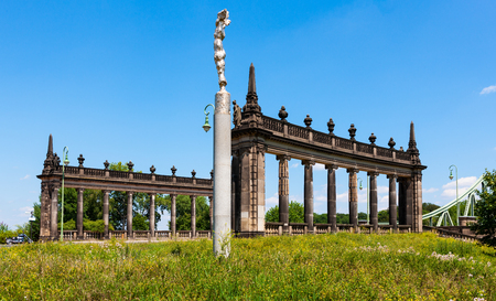 Architectural columns on approach to Glienicke Bridge outside Potsdam, Germay