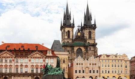 Buildings surrounding Prague Old Town Square, Czech Republic 写真素材