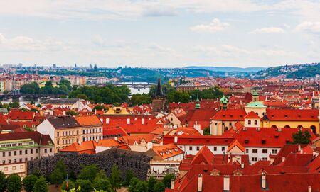 Prague cityscape from Prague Castle on west side of Vltava River, Czech Republic 写真素材