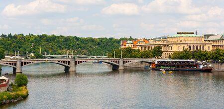 Manes Bridge, Manesuv Most, across Vltava River, Prague, Czech Republic 写真素材