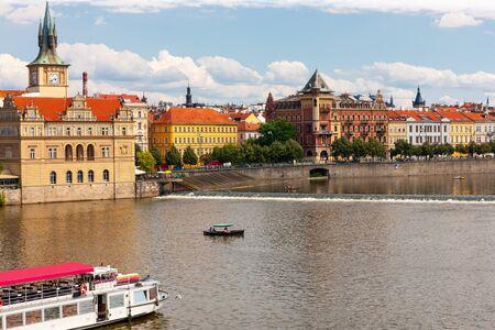 Prague city on bank of Vltava River, Prague, Czech Republic