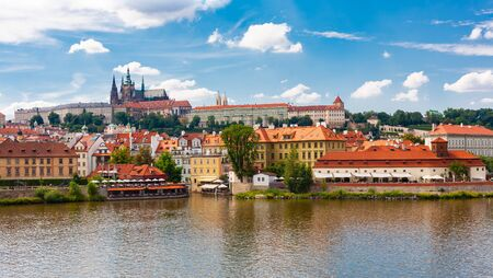 Prague city on bank of Vltava River, Prague, Czech Republic
