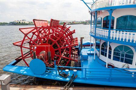 Paddlewheel boat on Elbe River, Hamburg, Germany