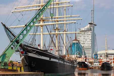 Bremerhaven Maritime district with ships at dock, Germany