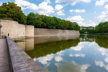 Wall and moat around the town of Ypres, Ieper, Belgium 写真素材