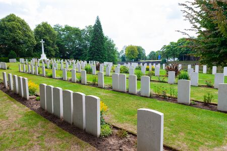Ramparts Cemetery, Ypres, Ieper, Belgium, Military cemetery for soldiers from World War One.