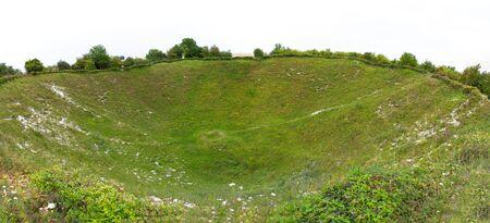 Lochnagar mine crater, Somme, France. Crater caused by underground mine detonation in World War One. 写真素材