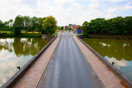 Road in and out of Ieper, Belgium, south beyond Lille Gate