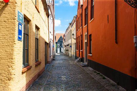 Colourful laneway in Brugge, Bruges, Belgium