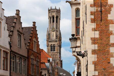 Belfry of Bruges, medieval bell tower among traditional buildings, Brugge, Bruges, Belgium