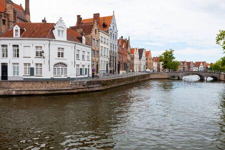 Langerei Canal winding through town of Brugge, Bruges, Belgium