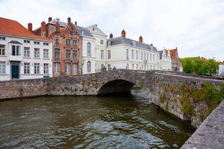 Small stone bridge across Langerei Canal, Brugge, Bruges, Belgium 写真素材