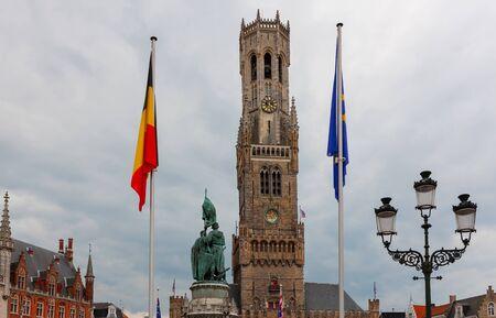 Belfry of Bruges, medieval bell tower rising above Market Square, Brugge, Bruges, Belgium