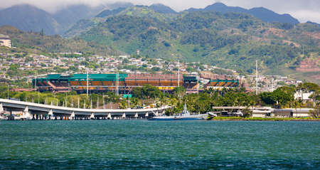 Pearl Harbor, Oahu, Hawaii, with Aloha sports stadium overlooking
