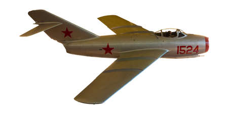 Russian MiG-15 fighter jet from Korean War, isolated on white