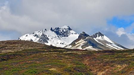 island�s: Picos de Islandia cerca de Svartifoss