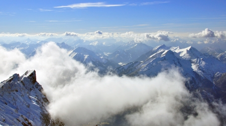 Peaks of Bavarian Alps, Zugspitze from above photo