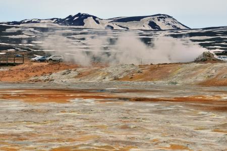 sulfide: Myvatn mountain and smoke, Iceland