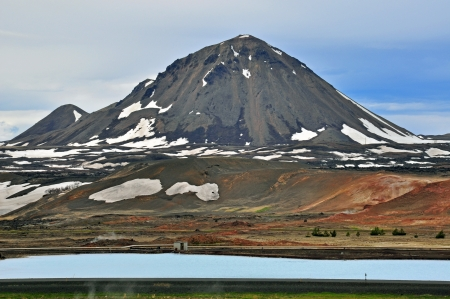 Volcano peak at Myvatn lake in Iceland Stock Photo - 20304525