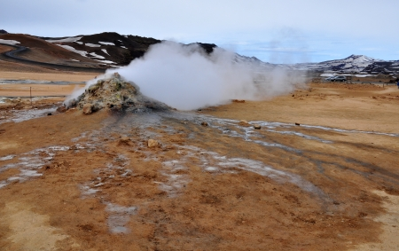 sulfide: Smoking ground in geothermal area, Iceland