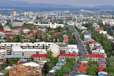reykjavik: Panorama of Reykjavik city, Iceland Stock Photo