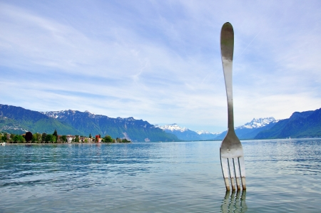 vevey: Vevey fork sculpture, Switzerland