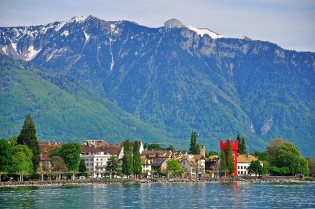 vevey: Panorama of Vevey, Switzerland Stock Photo