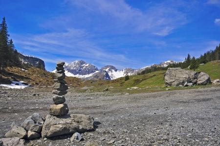 Stones pyramid, Alps, Switzerland photo