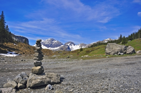 pyramid peak: Stones pyramid, Alps, Switzerland