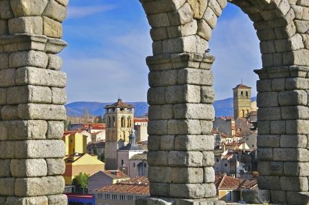segovia: Segovia throught the aqueduct, Spain