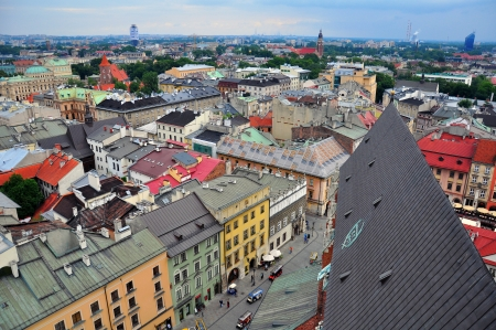 Panorama of Krakow downtown, Poland