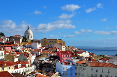 Panorama of Alfama, beautiful district of Lisbon Banco de Imagens