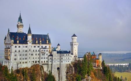 neuschwanstein: Neuschwanstein castle in Bavarian Alps