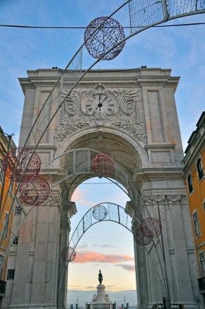 augusta: Arco de Augusta. Semana de Navidad en Lisboa, Portugal Foto de archivo