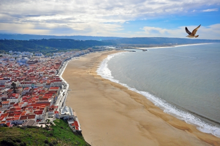 Nazare. Beautiful town at the Pacific ocean in Portugal Banco de Imagens