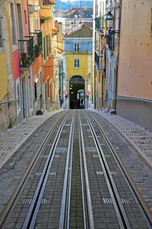 electrico: Waiting for funiculars in Lisbon, Portugal Stock Photo