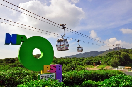 DUBAI, UAE - JUNE 07: Cable cars of Ngong Ping on Lantau island of Hong Kong on June 07, 2012. Lantau is the largest island in Hong Kong, located at the mouth of the Pearl River.