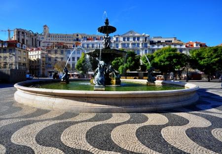 baixa: Restaradores, one the most beautiful squares of Lisbon, Portugal Editorial