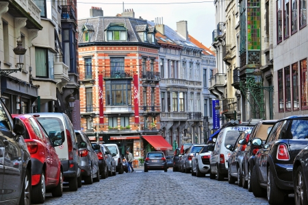 BRUSSELS, BELGIUM - SEPTEMBER 27: Cars on the typical street of Brussels downtown on September 27, 2012. Brussels is a capital and the largest city of Belgium.