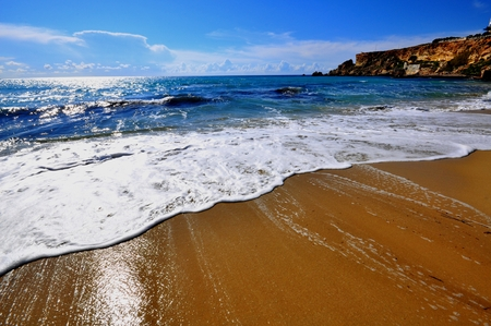 Sea waves, Golden beach, maltese islands photo