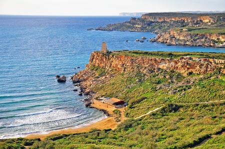 paisaje mediterraneo: Paisaje mediterr�neo, Playa de Oro, cerca de Mellieha, Malta