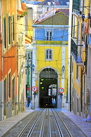 electrico: Bica funicular in Lisbon, Portugal
