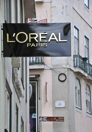 chiado: LISBON, PORTUGAL - NOVEMBER 22: The 1st worldwide boutique LOreal in Baixa district in Lisbon on November 22, 2013. Baixa is the most expencsive and prestigious district in capital of Portugal.  Editorial