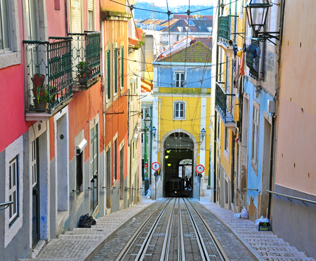 electrico: Lisbon funicular Bica in Bairro Alto district Editorial