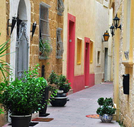 Typical patio in Mdina, Malta Banco de Imagens