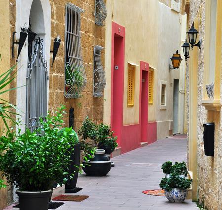 porch scene: Typical patio in Mdina, Malta Stock Photo